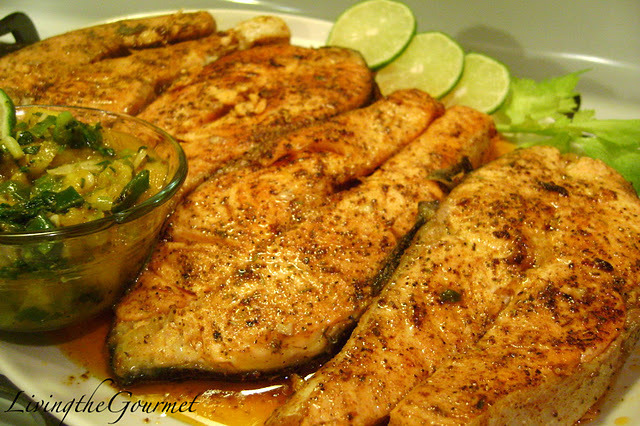 Fresh Salmon Steaks with Warm Mango Salsa!!! Recipe by Catherine ...