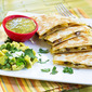 Tomatillo Chicken and Black Bean Quesadillas