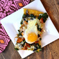 Sweet Potato, Kale and Black Bean Breakfast Pizza on Polenta Crust