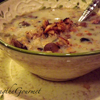 Grilled Mushroom Soup with Garlic Bread Crumbs!!!