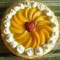 Mango Gateau with Peaches and Cream