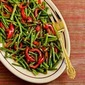 Recipe for Roasted Green Beans and Red Bell Pepper with Garlic and Ginger