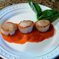 Sea Scallops with Roasted Red Pepper Sauce