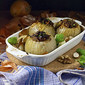 Roasted Onions stuffed with masala quinoa, amaranth and caramelized Brussel sprouts