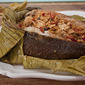 Flounder baked in banana leaf