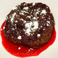 Chocolate Bread Pudding with Puya Chile Raspberry Sauce