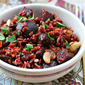 Recipe for red rice salad with roasted beets, sun-dried tomatoes, cherries and nuts