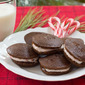 Cocoa-Nut Whoopie Pies with Whipped Pink Peppermint Filling