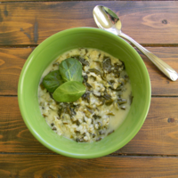 Image of Spinach Soup With Lemon And Sour Cream Recipe, Cook Eat Share