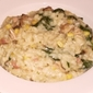 Cheesy Corn, Spinach, Bacon and Mushroom Risotto