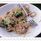 Gluten Free Fettuccine Alfredo with Mushrooms and Broccoli