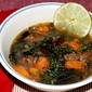 Kale and Sweet Potato Soup with Chorizo and Kidney Beans
