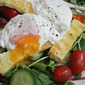 Poached Eggs on Halloumi Cheese Salad
