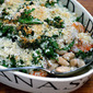 Recipe for shrimp, kale and cannellini bean casserole