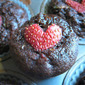 Chocolate Zucchini Muffins (with a sweet topping)