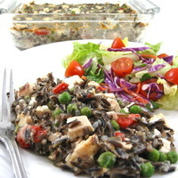 Low Calorie and Super Delicious, Chicken Alfredo and Wild Rice Casserole