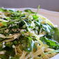 fettucine with ricotta, baby arugula and fresh herbs