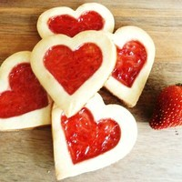 Heart shaped strawberry biscuits