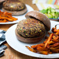 Southwestern Black Bean Burgers with Chipotle Sweet Potato Fries