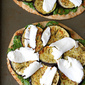 Vegetarian Naan Pizza with Eggplant & Cilantro Jalapeno Pesto Recipe
