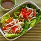 Recipe for Asian Lettuce Wraps (or Cups) with Pork, Napa Cabbage, and Red Bell Pepper
