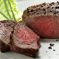 Pepper-crusted ostrich fillet