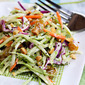 Recipe for broccoli slaw salad with honey-mustard yogurt dressing