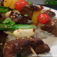Marinated Beef Kebabs w Vegetable Medley