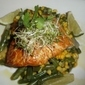 SMOKED ALASKAN WHITE KING SALMON ON A BED OF SUCCOTASH TOPPED WITH ALFALFA SPROUTS