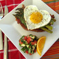 Open-Face Egg Sandwich with Bacon, Asparagus, and Pesto