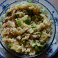 Broad bean and bacon risotto