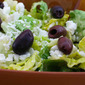 Recipe for Mediterranean Salad with Hummus Dressing, Olives, Capers, and Feta