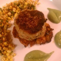 Sweet Potato Tostones with Blue Crab Cake, Jalapeno Fried Corn, and Citrus Avocado Cream