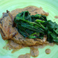 Pork chops with cider and spinach