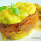 Individual Bacon Wrapped Baked Eggs with Jalapeno Cheese, Peppers, and Green Onion