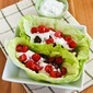 Recipe for Ground Beef Gyro Meatball Lettuce Wraps with Tzatziki and Tomatoes