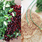 Brown Rice Pan Bread and a Chysamthemum Pomegranate Salad