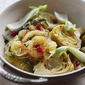 Roasted Spaghetti Squash with Greens, Artichokes and Pomegranate