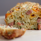 Hot Dog, Cheddar Cheese, & Chive Cake Salé with Tarragon Chive Butter for the Five Star Junk Food Makeover Challenge