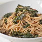 Spaghetti with Kale, Beef and Mushrooms