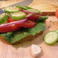 Tomato and Cucumber Sandwich with Garlic Butter
