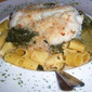 Italian Garlic Greens with Buttered Bread Crumb Baked Haddock and Pasta