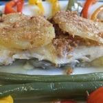 Orange sea bream with potato crust
