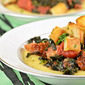 Polenta Recipe with Italian Sausage, Kale, Tomatoes and Crispy Potatoes