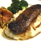 Garlic Steak with Creamy Mash and Pumpkin