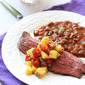 Beer-Marinated Grilled Flank Steak with Peach & Tomato Salsa Recipe