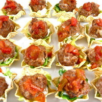 Skinny, Mini Mexican Meatball Tostada Appetizers