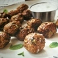 Greek Appetizer Meatballs with Goat Cheese Tzatziki Dip