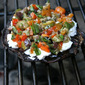 Grilled Portobello Mushrooms with Goat Cheese and Olive-Caper-Pepper Relish