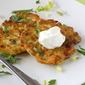 Zucchini-Feta Pancakes Topped with Sour Cream